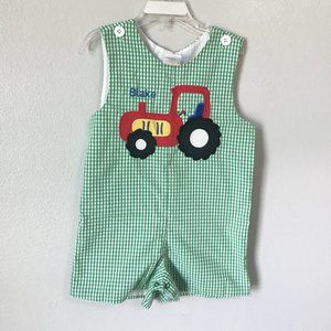 Custom Vintage Green Gingham Tractor Short Overall